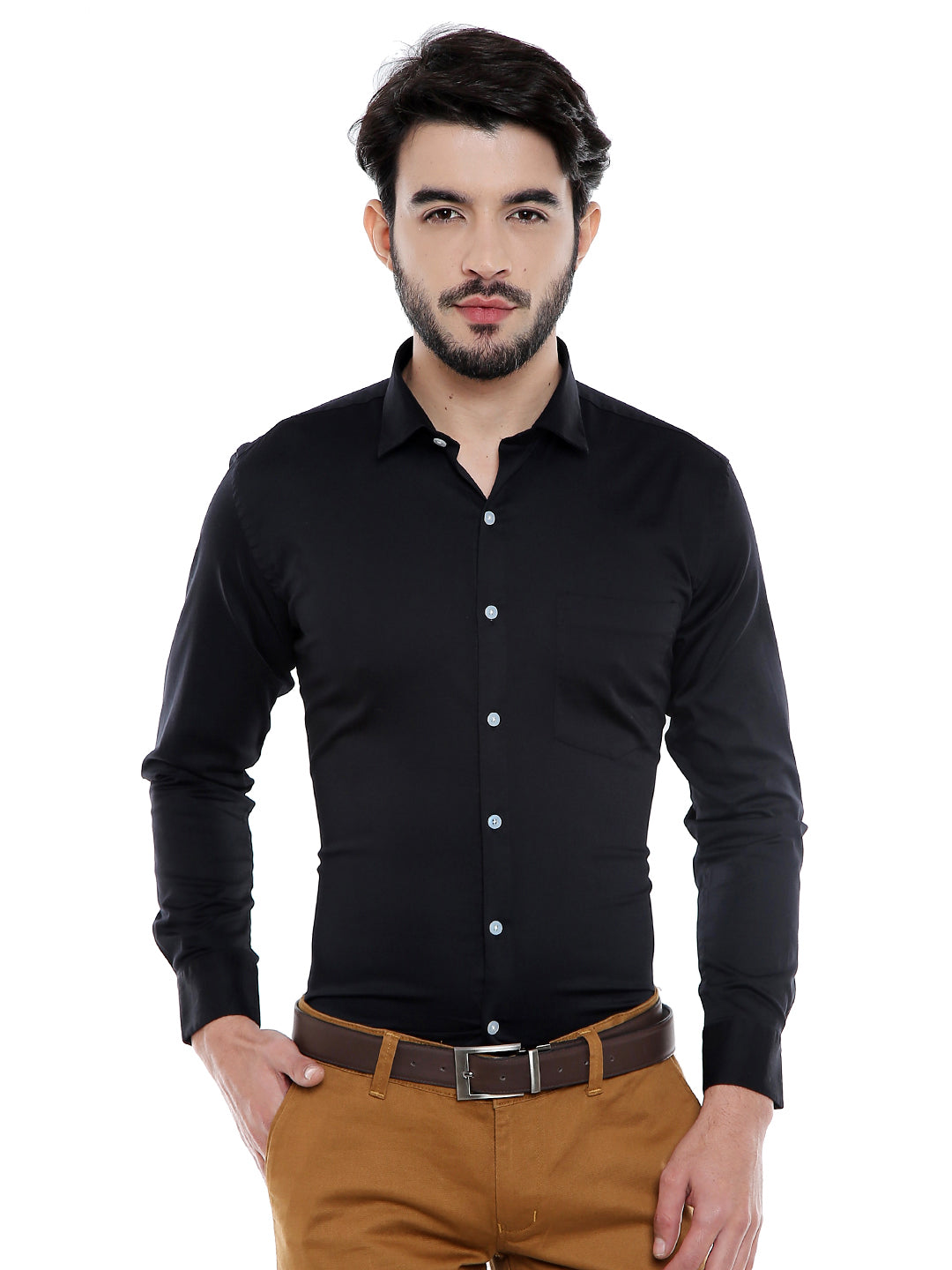 ZIDO Cotton Satin Stretch  Solid Men's Shirt
