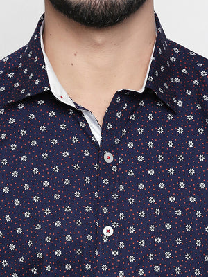 ZIDO Slim Fit Cotton Printed Shirt for Men's PN1412