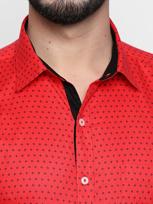 ZIDO Slim Fit Cotton Printed Shirt for Men's PN1417