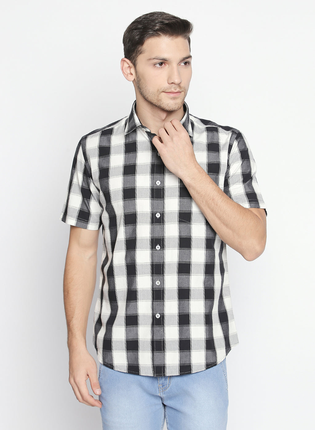 ZIDO Slim fit COTTON Checkered Shirt for Men's BTCH1424