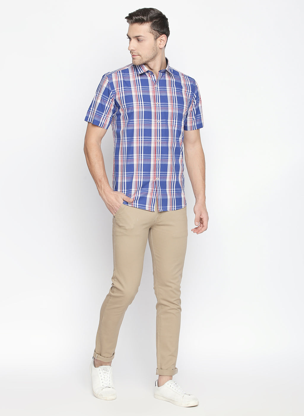 ZIDO Slim fit COTTON Checkered Shirt for Men's BTCH1426