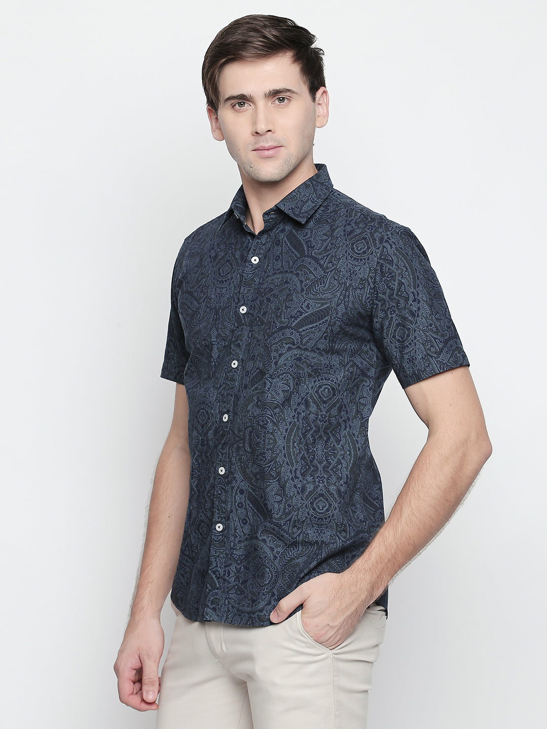 ZIDO Slim Fit Cotton Printed Shirt for Men's PN1437