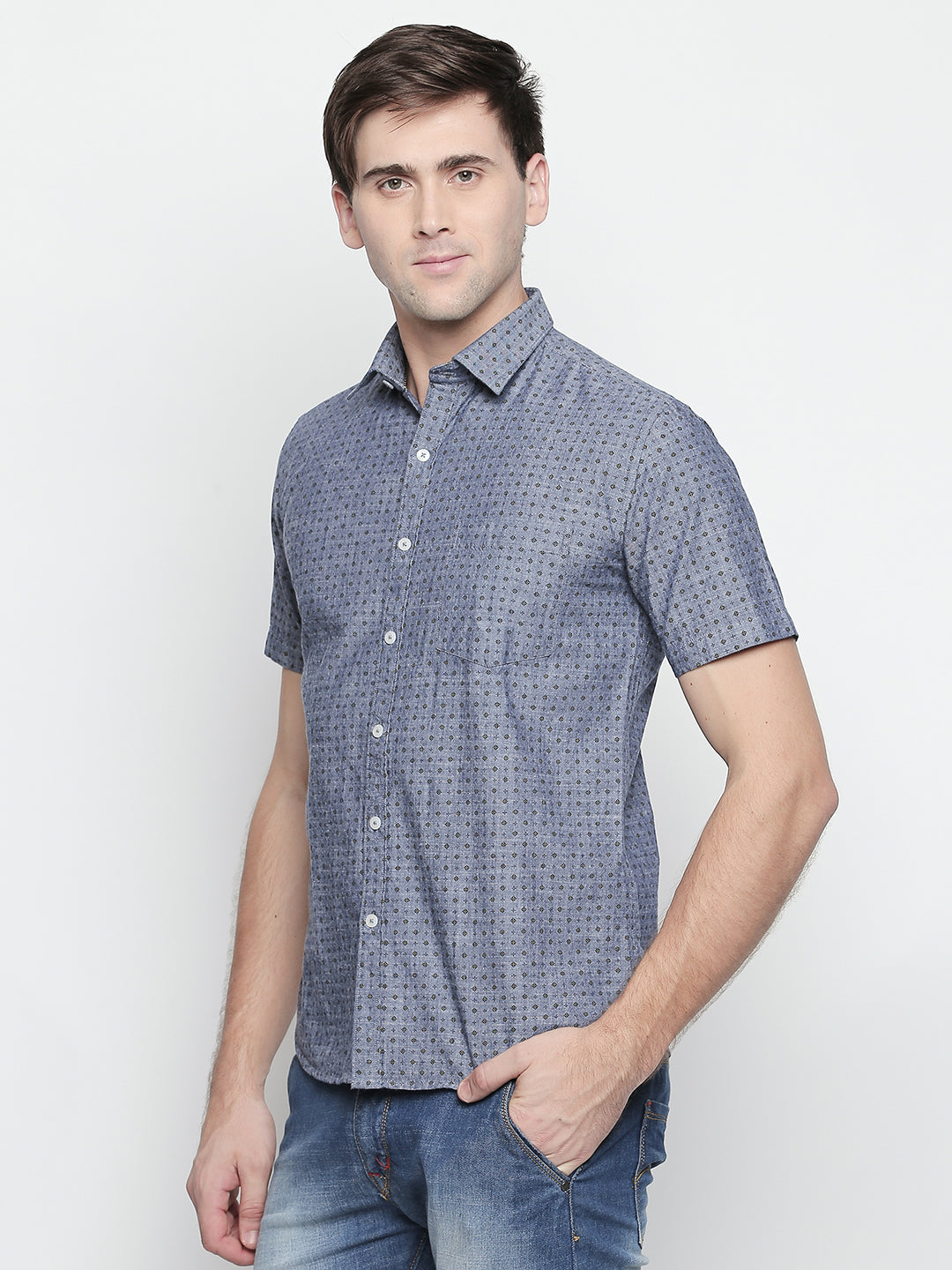 ZIDO Slim Fit Cotton Printed Shirt for Men's PN1439