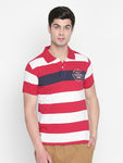 ZIDO Regular Fit Cotton Blend Striped T-Shirt for Men's TSHSTP314