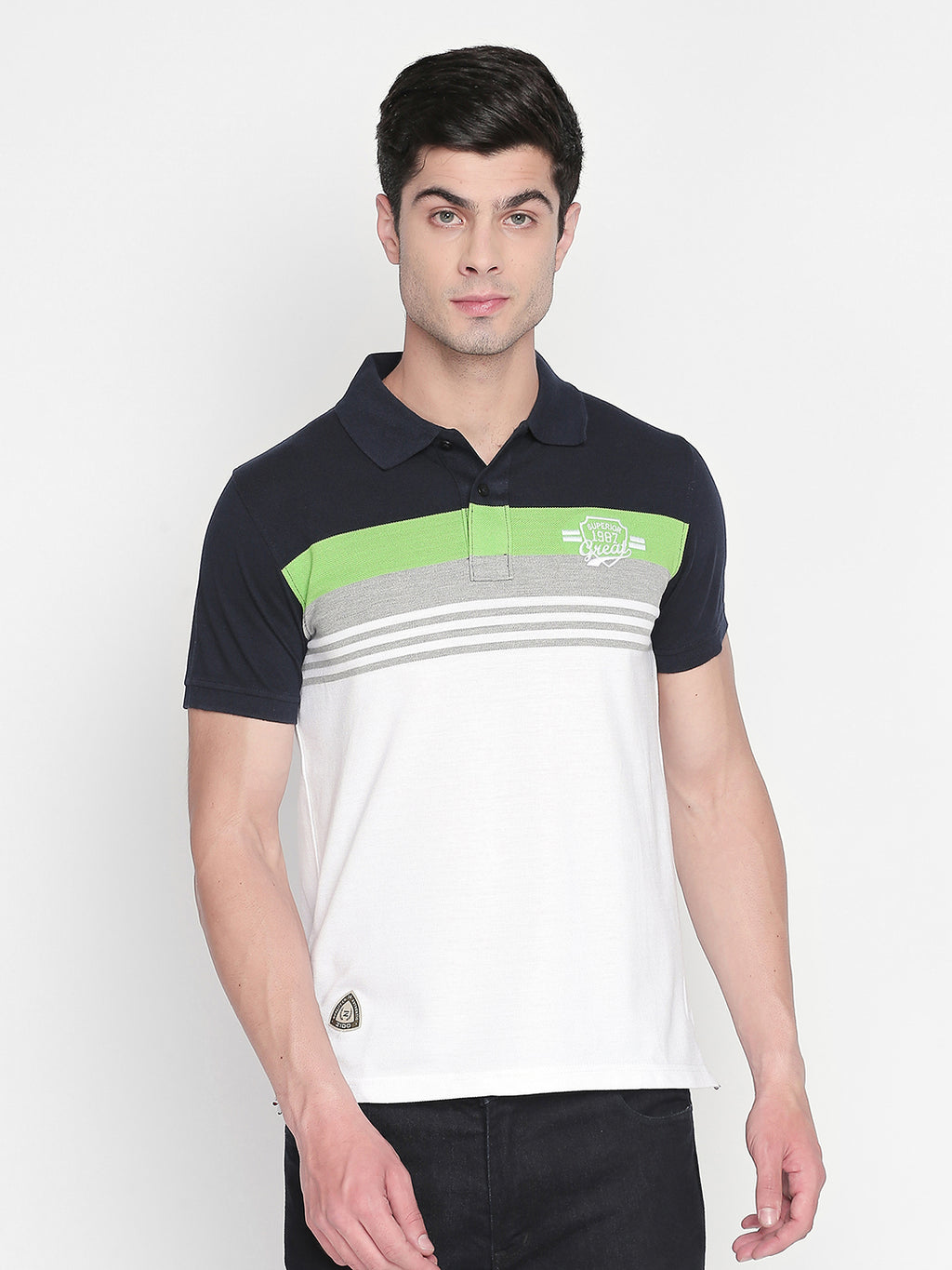 ZIDO Regular Fit Cotton Blend Striped T-Shirt for Men's TSHSTP315