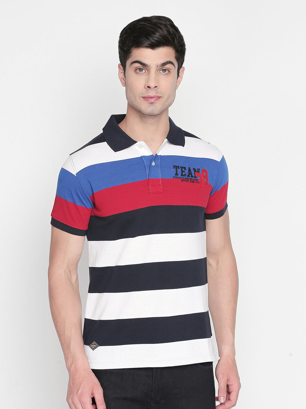 ZIDO Regular Fit Cotton Blend Striped T-Shirt for Men's TSHSTP313