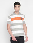 ZIDO Regular Fit Cotton Blend Striped T-Shirt for Men's TSHSTP312