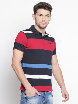 ZIDO Regular Fit Cotton Blend Striped T-Shirt for Men's TSHSTP304