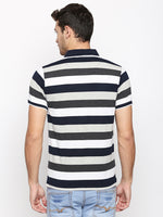 ZIDO Regular Fit Cotton Blend Striped T-Shirt for Men's TSHSTP305