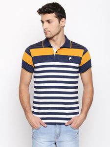 ZIDO Regular Fit Cotton Blend Striped T-Shirt for Men's TSHSTP306