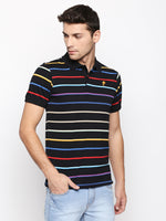 ZIDO Regular Fit Cotton Blend Striped T-Shirt for Men's TSHSTP307