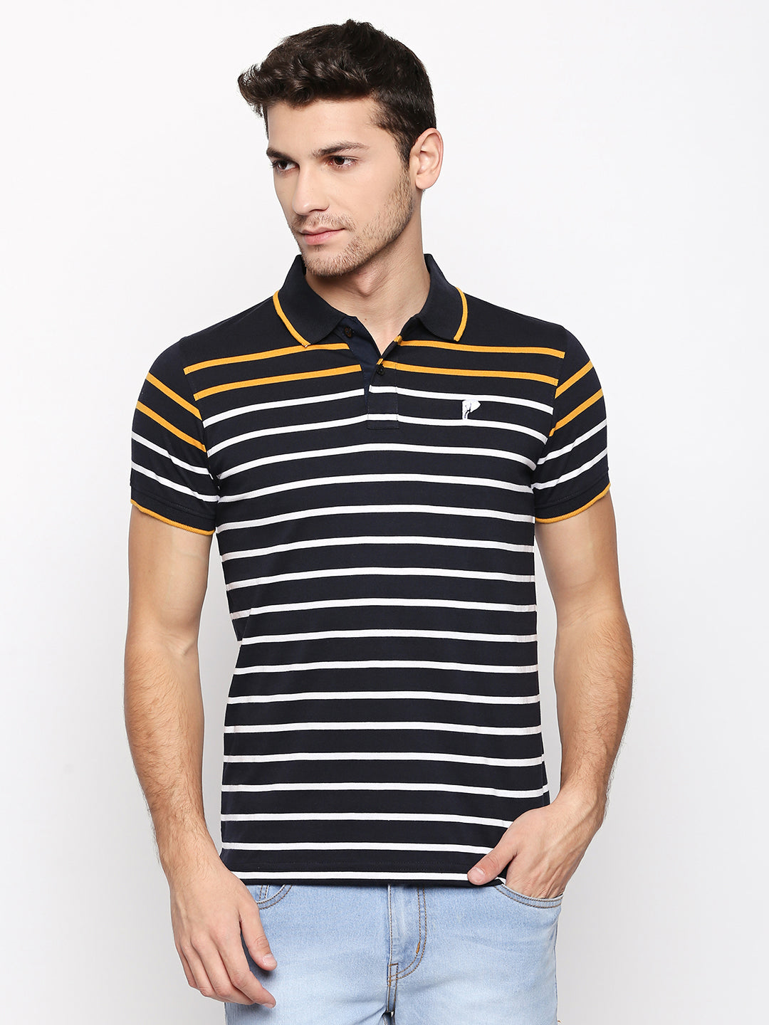 ZIDO Regular Fit Cotton Blend Striped T-Shirt for Men's TSHSTP308