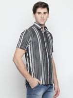 ZIDO Slim Fit Cotton Striped Shirt for Men's STR1432