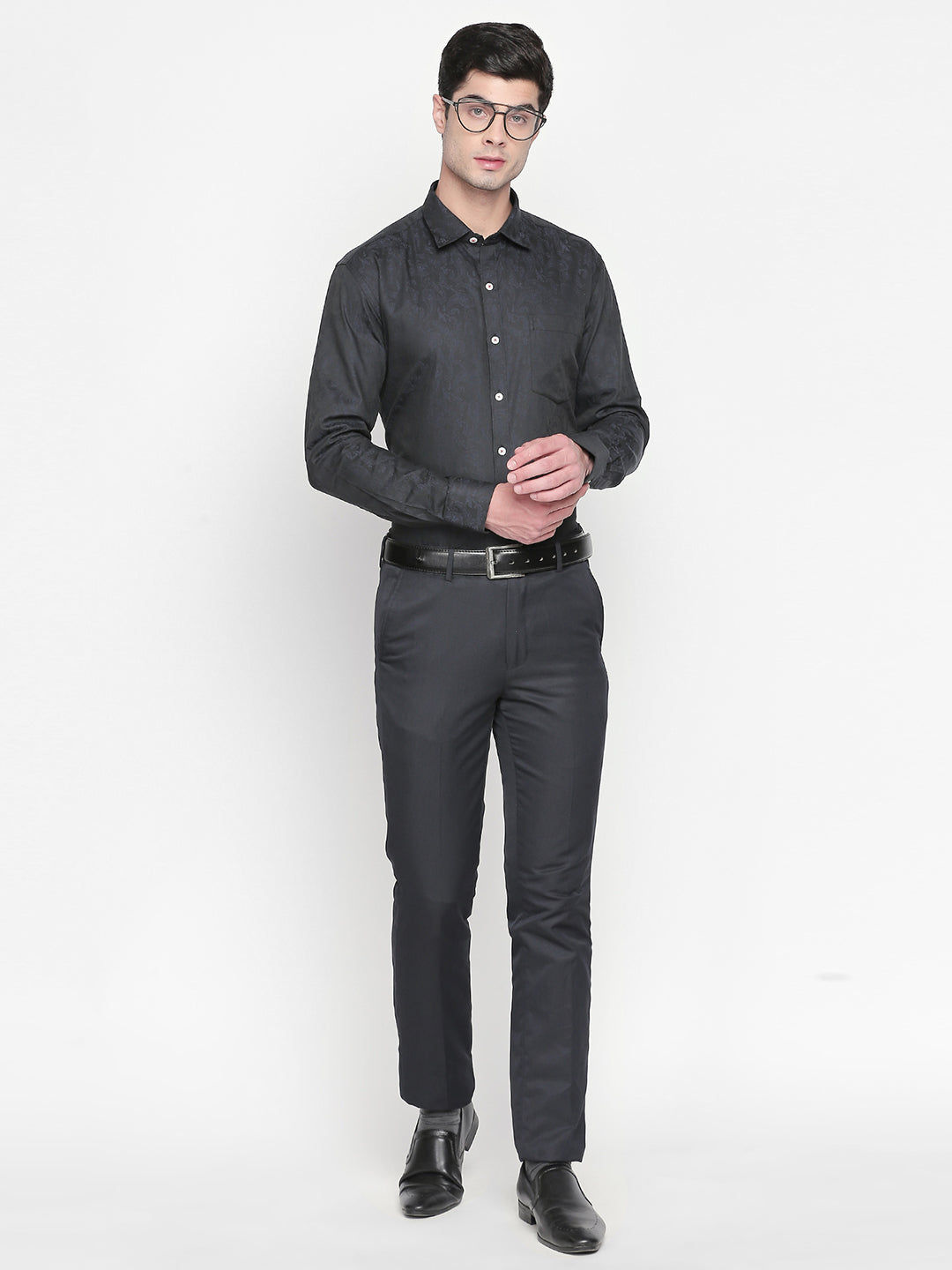 ZIDO Slim Fit Cotton Self Design Shirt for Men's JQ1441