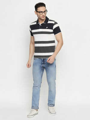 ZIDO Regular Fit Cotton Blend Striped T-Shirt for Men's TSHSTP302