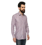 ZIDO COTTON LINEN Striped Shirt for Men's CTLN1357