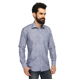 ZIDO COTTON LINEN Striped Shirt for Men's CTLN1358