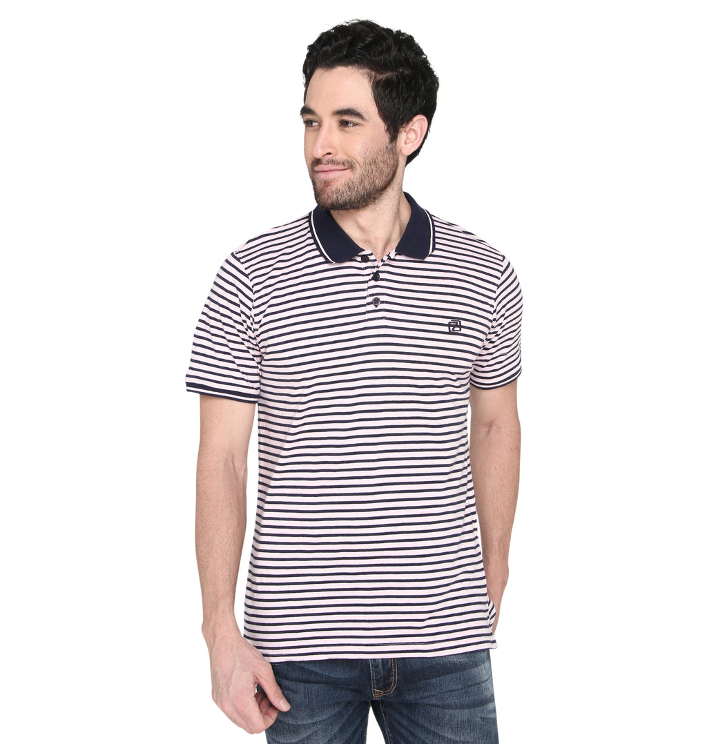 ZIDO Regular Fit Multicolor COTTON Striped T-Shirt for Men's TSHSTP102