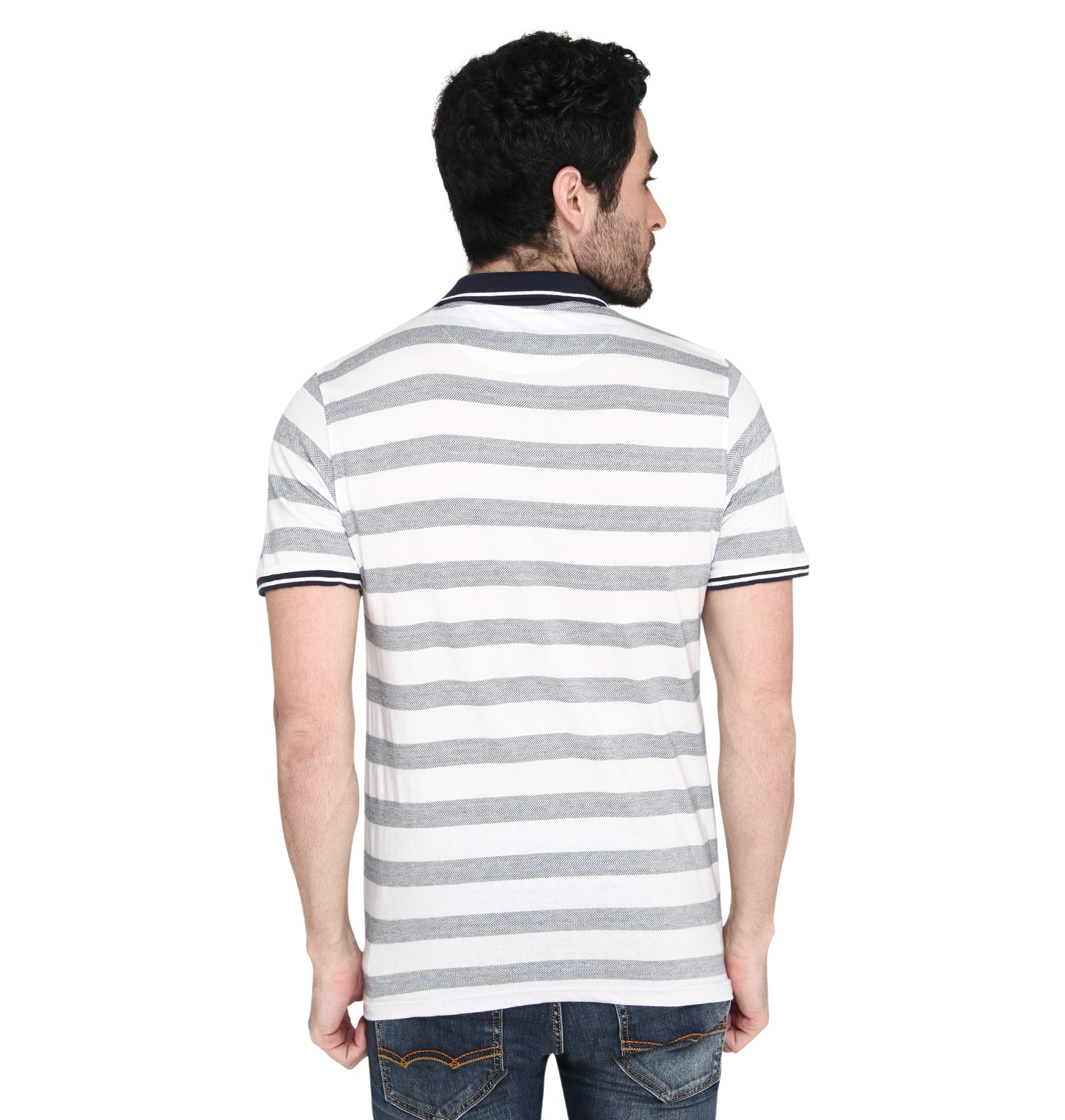 ZIDO Regular Fit Multicolor COTTON Striped T-Shirt for Men's TSHSTP106