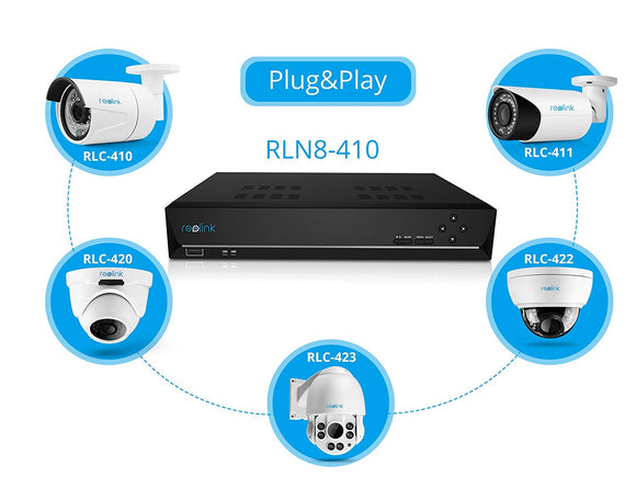 Reolink PoE NVR 8 Channel 4 Megapixels Super HD 2560*1440 IP Home Security Camera System 2TB Hard Drive 24/7 Recording RLN8-410