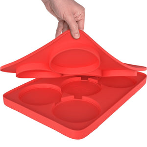 Round Silicone Burger Press with 5 Circular Divisions for Tasty Healthy Patties Stacks for Freezer Storage Perfect for Outdoor Picnic or Party.Red
