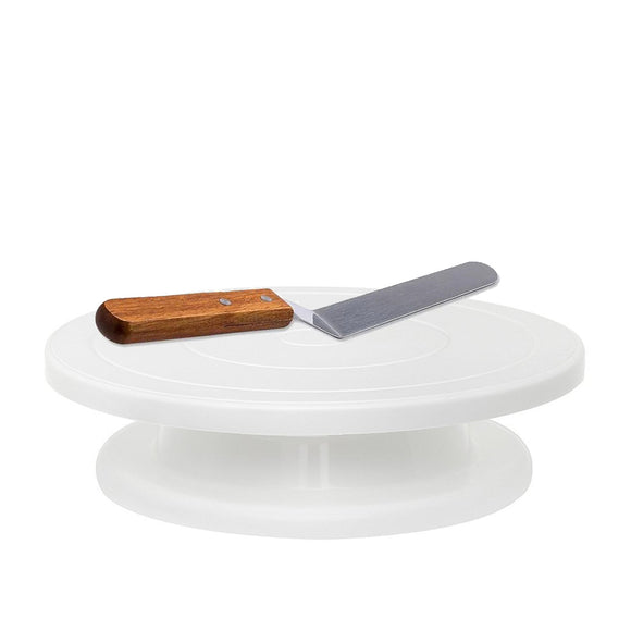 Revolving Cake - Professional Baking and Serving Cakes Decorating Tool with Spatula and Icer