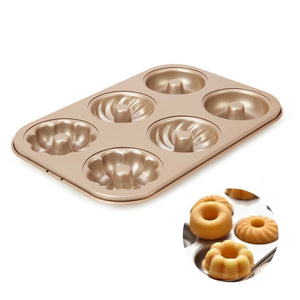Mixed Shape 6 Part Professional Non-Stick Bagel and Donut Making Mould Pan