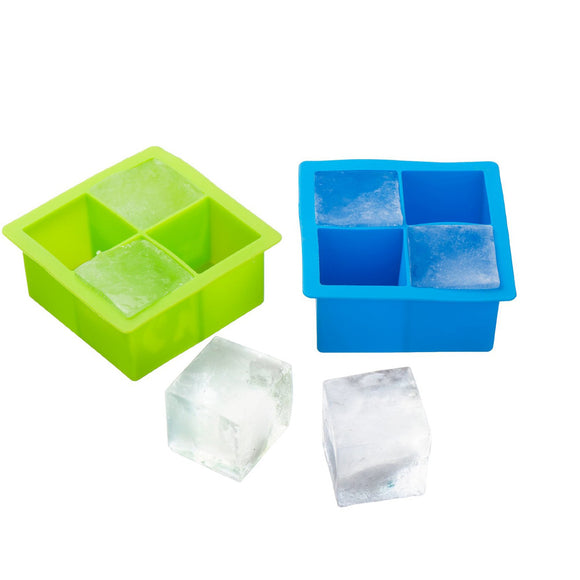 Large Silicone Whisky Ice Cube 4 x Giant Block Maker Mould Tray
