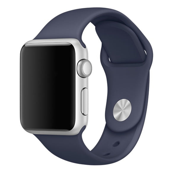 Soft Silicone Sport Style Replacement iWatch Strap Band for Apple Wrist Smart Watch (Dark Blue/38mm)