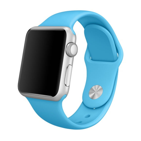 Soft Silicone Sport Style Replacement iWatch Strap Band for Apple Wrist Smart Watch (Blue/38mm)