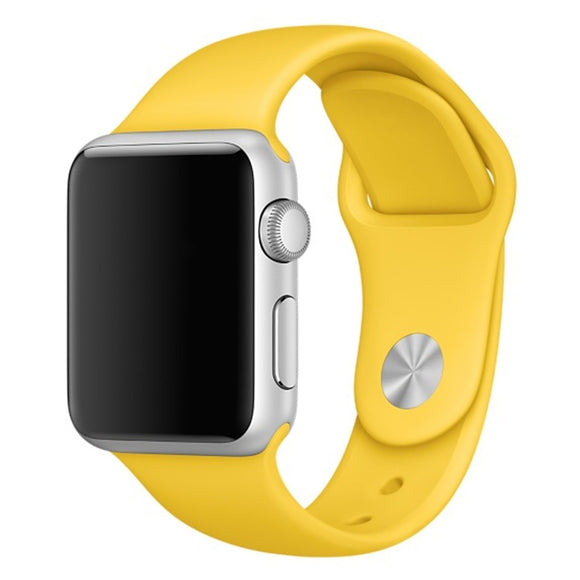 Soft Silicone Sport Style Replacement iWatch Strap Band for Apple Wrist Smart Watch (Yellow/38mm)