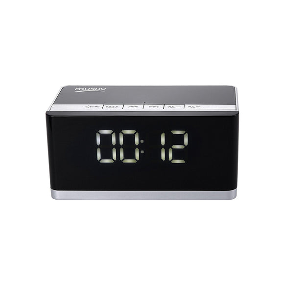 Digital LED Display Clock Alarm Wireless Bluetooth Speaker - FM Radio Support AUX TF Card USB - Compatible with Apple / Android
