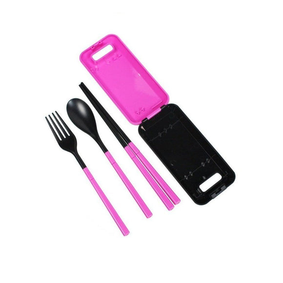 Pink Portable Travel Kids Adult Cutlery Fork Chopsticks Spoon Camping Picnic Set Gift