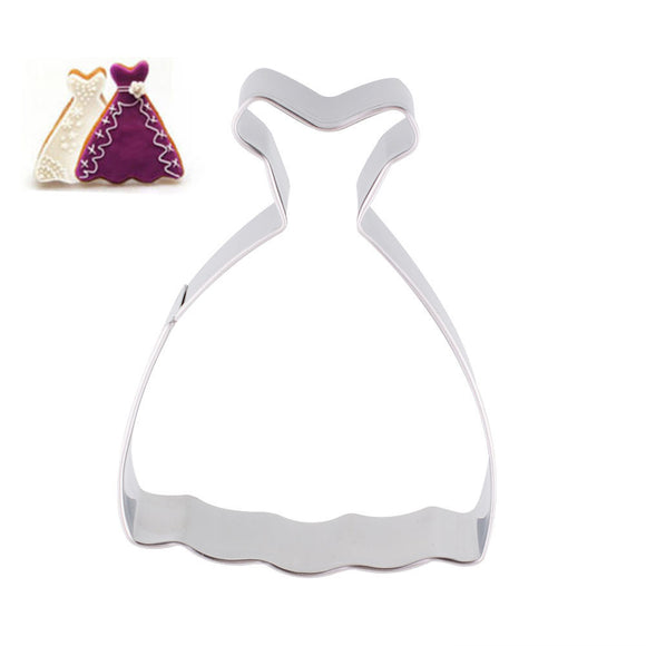 Stainless Steel Wedding Dress Princess Cookies Cake Cutter Jelly Mould Tool