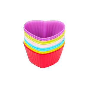 Silicone Cupcake Liners 12 Pack 6 Colors Baking cups Resuable and Nonstick Muffin Holder Standard Size Cake Molds