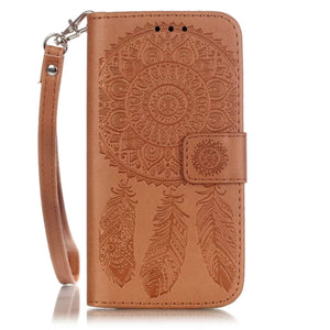 iPhone 6 Plus Aeolian Bells Pattern Emboss Leather Case with Holder & Card Slots & Wallet (Brown)