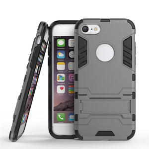 iPhone 7 Case HEAVY DUTY Iron Case Premium Shockproof Kickstand Bumper [MILITARY DEFENDER] Full-body Rugged Dual Layer Cover