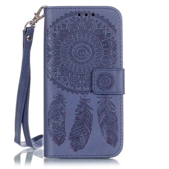 iPhone 7 Plus Aeolian Bells Pattern Emboss Leather Case with Holder & Card Slots & Wallet (Purple)