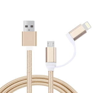 iPhone & iPad & iPod Samsung HTC Sony Huawei Xiaomi1m 2 in 1 8pin & Micro USB to USB Data Sync Cable Charging Cable (Gold)