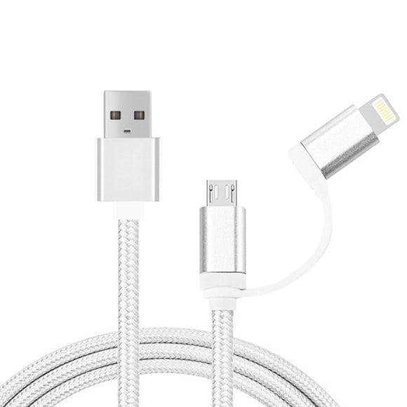 iPhone & iPad & iPod Samsung HTC Sony Huawei Xiaomi1m 2 in 1 8pin & Micro USB to USB Data Sync Cable Charging Cable (White)