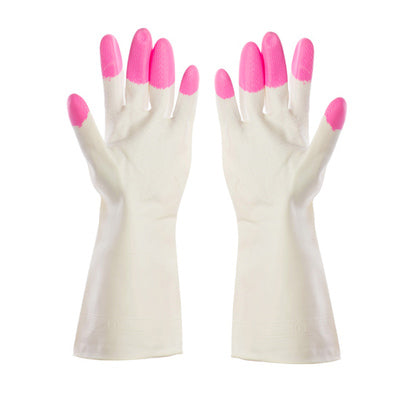 Pink Kitchen Chores Clean Waterproof Rubber Gloves