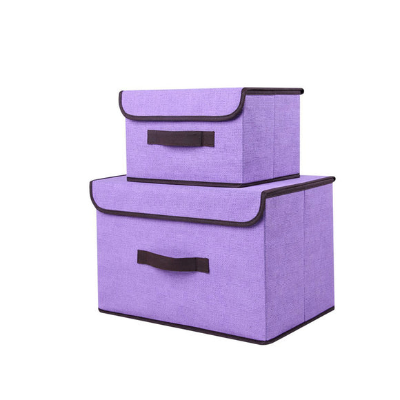 Set of 2 x Foldable Fabric Collapsible Storage Bin Boxes Cube Organisers with Lids