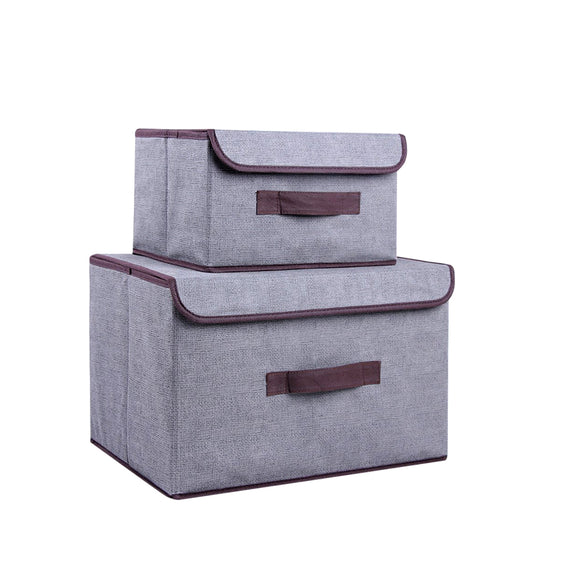 Set of 2 x Foldable Fabric Collapsible Storage Bin Boxe Cube Organziers with Lids