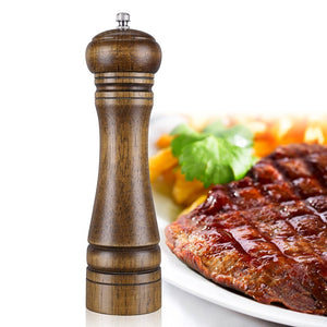 Natural Oak Wood Pepper MillAdjustable Salt And Pepper Grinder 8 inches Pack of 2