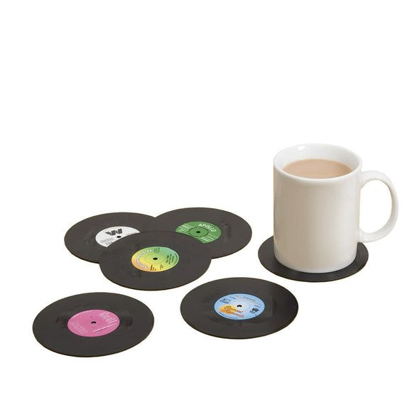 Retro Records Vintage Vinyl Coaster Set