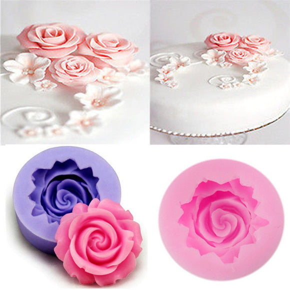 Silicone 3D Rose Flower Fondant Cake Sugarcraft DIY Decorating Mold Cutter Tools