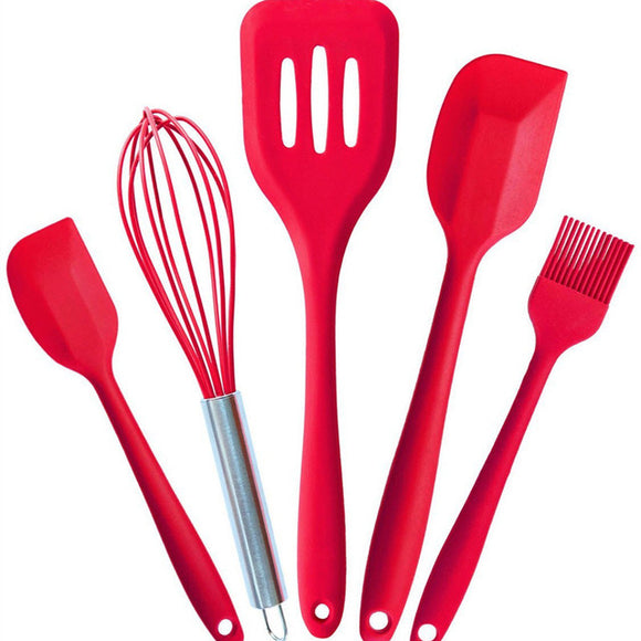 Silicone Cooking Tools Silicone Kitchen Utensils Set (5 Piece) in Hygienic Solid Coating