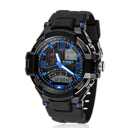 Unisex Dual Movements 5ATM Water-proof Sports Alarm Chronograph Watch (Blue)