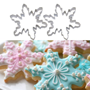 Set of 2 Stainless Steel Snow Flake Cookie Cutter Cake Baking Biscuit Pastry Mould