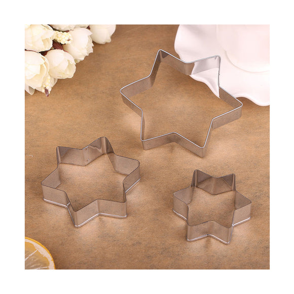 Set of 3 Stainess Steel Star Cookie Cutter Stainless Steel Pastry Baking Mold